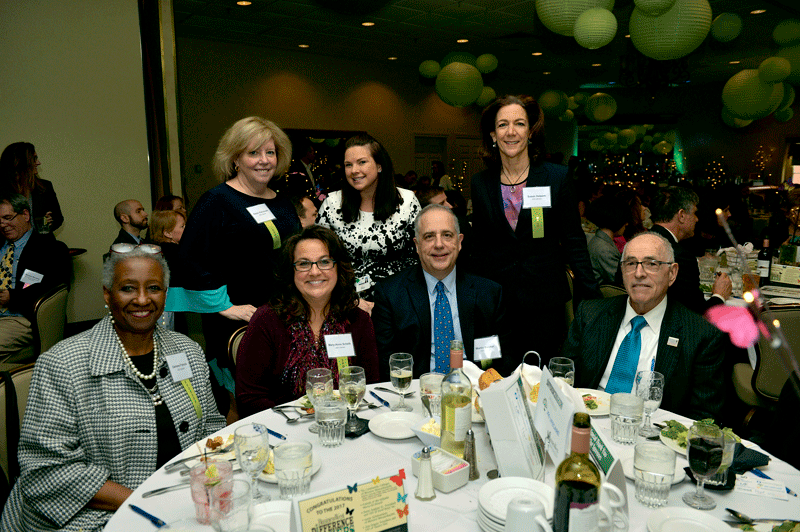 Back row, from left: from event sponsor JGS Lifecare, Karen Petruccelli, Christina Tuohey, and Susan Halpern. Front row, from left: from JGS Lifecare, Darlene Francis, Mary-Anne Schelb, and Martin Baecker, with George Sachs from Acme Metals & Recycling.