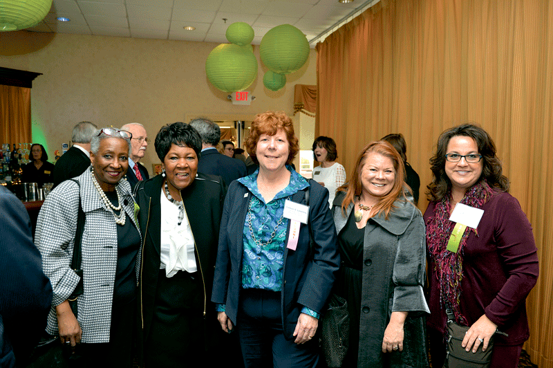From left, Darlene Francis of event sponsor JGS Lifecare, Ethel Griffin and Colleen Loveless of Revitalize CDC, Kathleen Plante of BusinessWest, and Mary-Anne Schelb of JGS Lifecare.