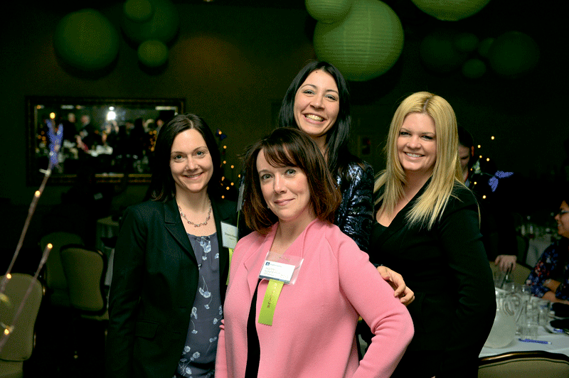 From left, Shawna Biscone of event sponsor Royal P.C., Julie Cowan of MassDevelopment, Tara Brewster of Greenfield Savings Bank, and Amy Royal of Royal P.C.