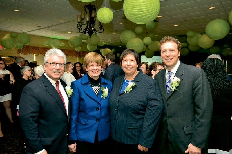 The community colleges of Western Mass., honored collectively as 2017 Difference Makers, were represented by their presidents, from left, Bob Pura of Greenfield Community College, Ellen Kennedy of Berkshire Community College, Christina Royal of Holyoke Community College, and John Cook of Springfield Technical Community College.