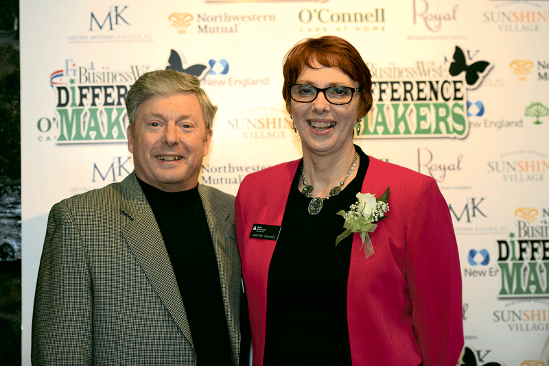Al Kasper of Savage Arms with Jennifer Connolly, president of 2017 Difference Maker Junior Achievement of Western Mass.