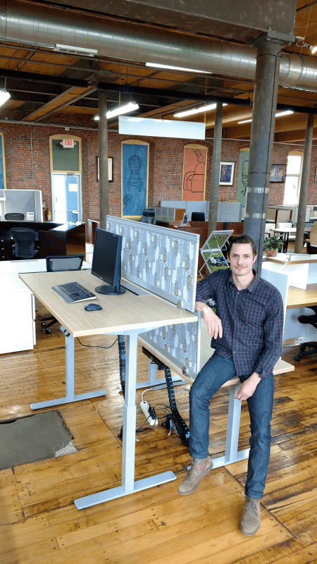 Mike Morin says sales of adjustable sit-stand desks are soaring