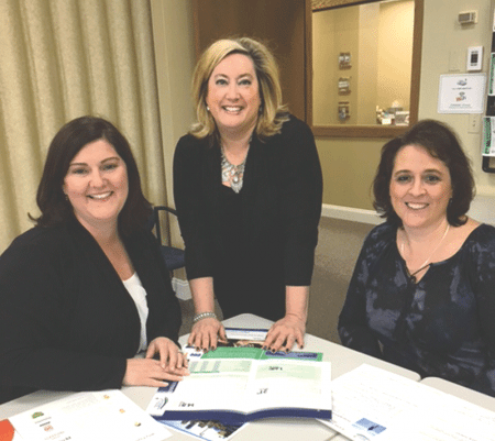 From left, Michelle Depelteau, director of Human Resources at Sunshine Village; Allison Ebner, director of Member Relations for EANE; and Nichole Chilson, Human Resource Generalist.