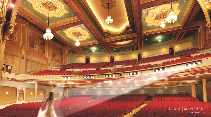 An architect's rendering of what might be the new look of the Paramount's interior.
