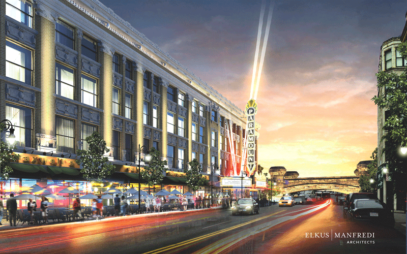 An architect's rendering of what a renovated Massasoit Block might look like.