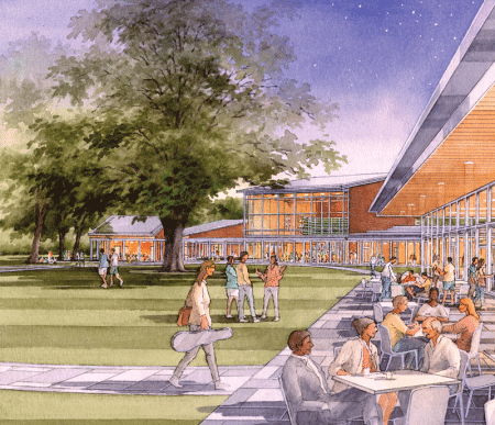 An architect's rendering of the how the $31 million expansion project will change the landscape at Tanglewood.