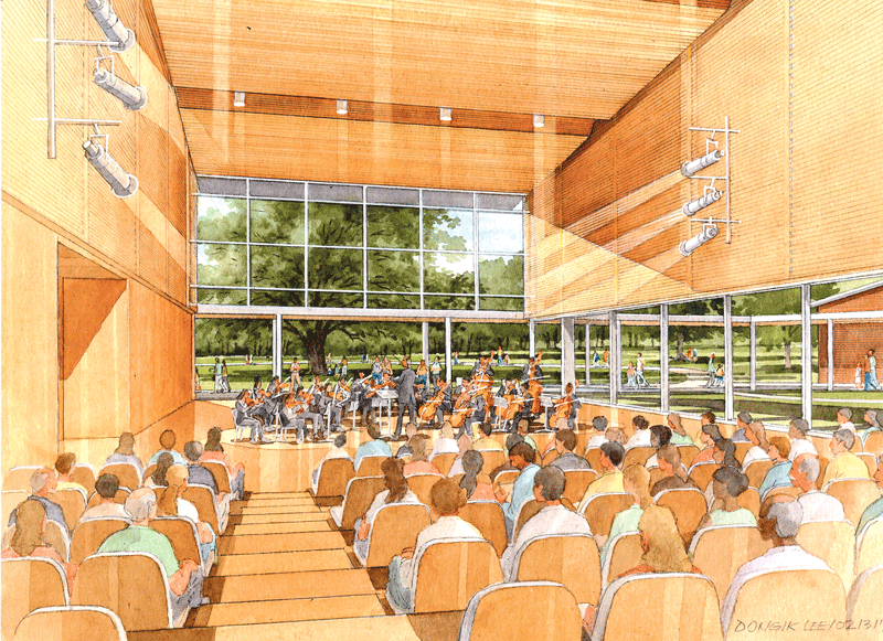 An architect's rendering of one of the new facilities at Tanglewood.