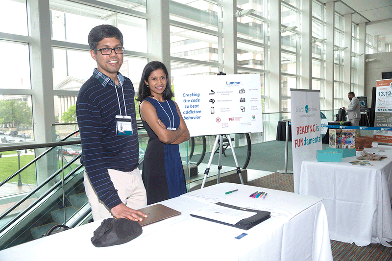 Akshaya Shanmugam (right) and Abhinav Parate from Lumme Inc.,