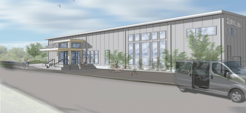 An architect's rendering of the new facility on Hawley Street in Northampton.