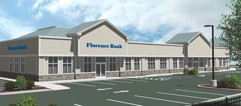 A rendering of the new Florence Bank branch in West Springfield.