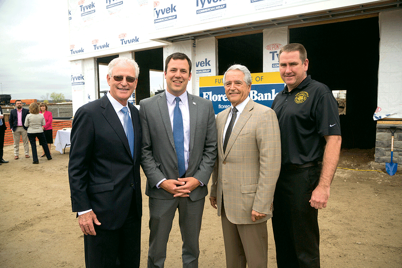 From left, John Heaps Jr., West Springfield Mayor Will Reichelt, developer Frank Colaccino, and West Springfield Fire Chief Bill Flaherty