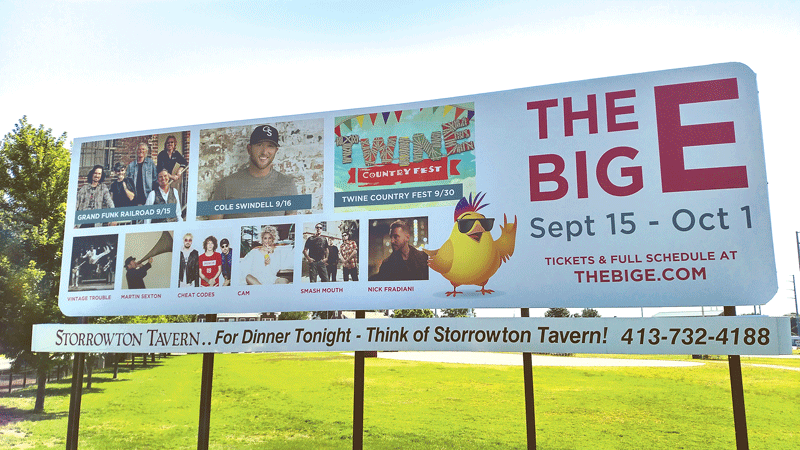 The billboard at the West Springfield-Agawam line only scratches the surface of the variety of music on tap for this year's fair.