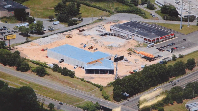 aerial shot shows ongoing construction at the future Mercedes-Benz of Springfield