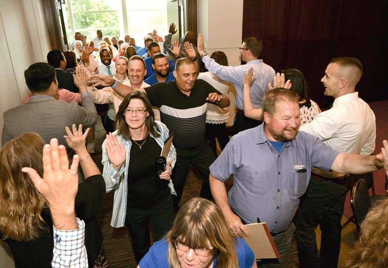 MassMutual Center employees celebrate their entry into the MGM family.