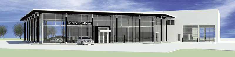 An architect's rendering of the new Mercedes dealership