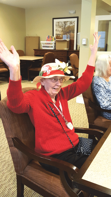 Helen S., Terry Hodur's formerly shy, reserved friend, enthusiastically took part in a tea party for Queen Elizabeth's 90th birthday at Armbrook Village.