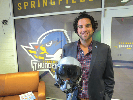 Nate Costa displays his helmet, a gift from the Air Force's Thunderbirds