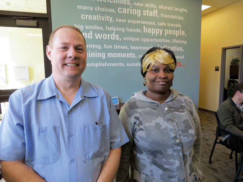 Denise Simpkins and Bill Denard have been working at Westover Air Reserve Base for several years now through Sunshine Village's employment-services arm.
