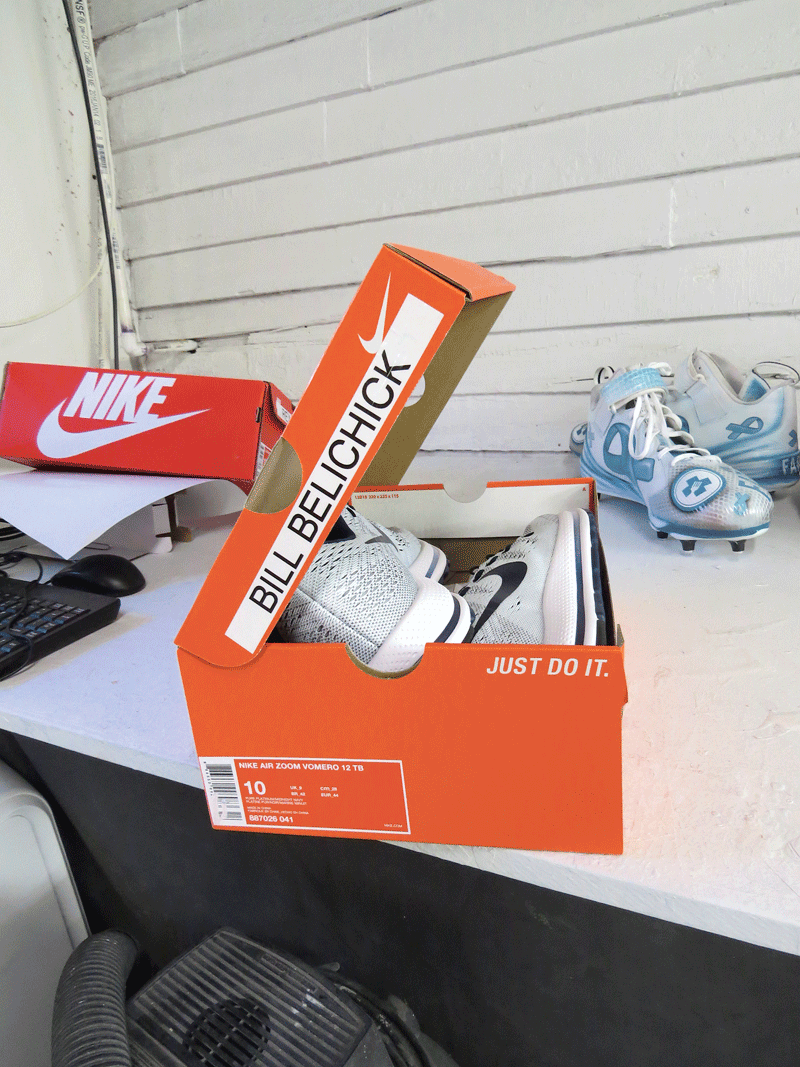 The name on the shoebox tells a big part of the story