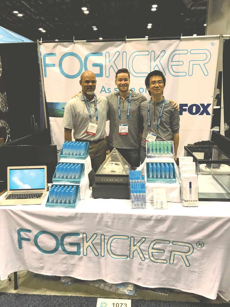 The FogKicker principals, from left, Kenneth Carter, Marc Gammell, and Yinyong Li, display their products at one of the many trade shows they've exhibited at recently.