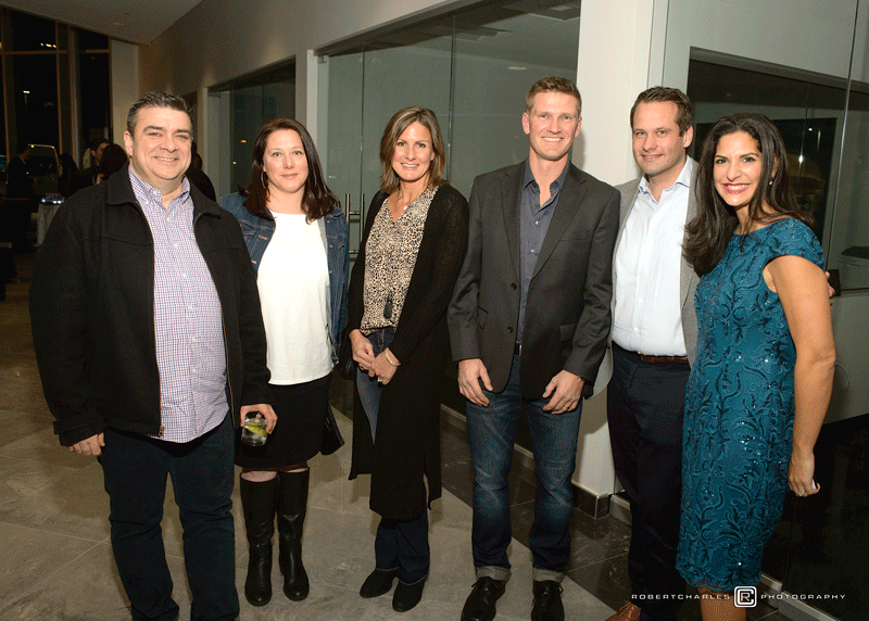 From left, Mike Baxendale, Jennie Anderson, Kirsten and Todd Ondrick, and co-owners Peter and Michelle Wirth