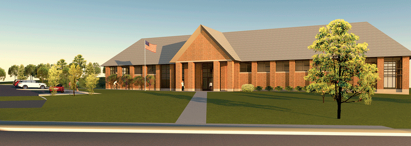 An architect's rendering of the new branch library to be built in East Forest Park.