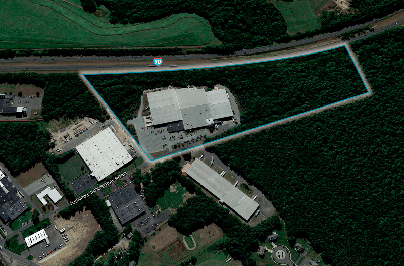 An aerial shot of 70 Turnpike Industrial Park Road in Westfield.