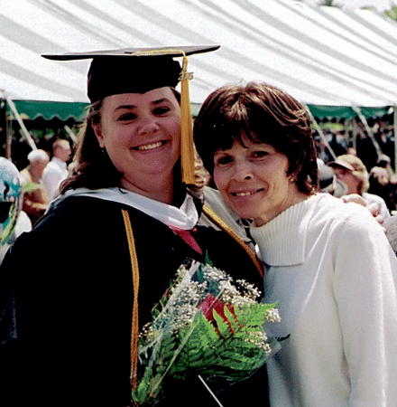 Monson-Bishop pictured at her college graduation, with her mother, Sue McCormack