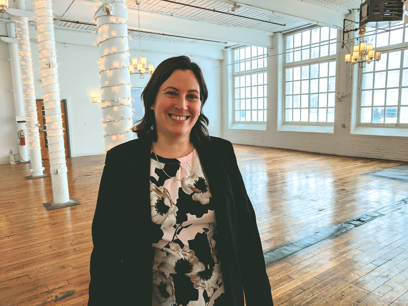 Erin Witmer says her goal was to preserve the history of the Keystone building while creating flexible spaces that can be crafted to the mood of each event.