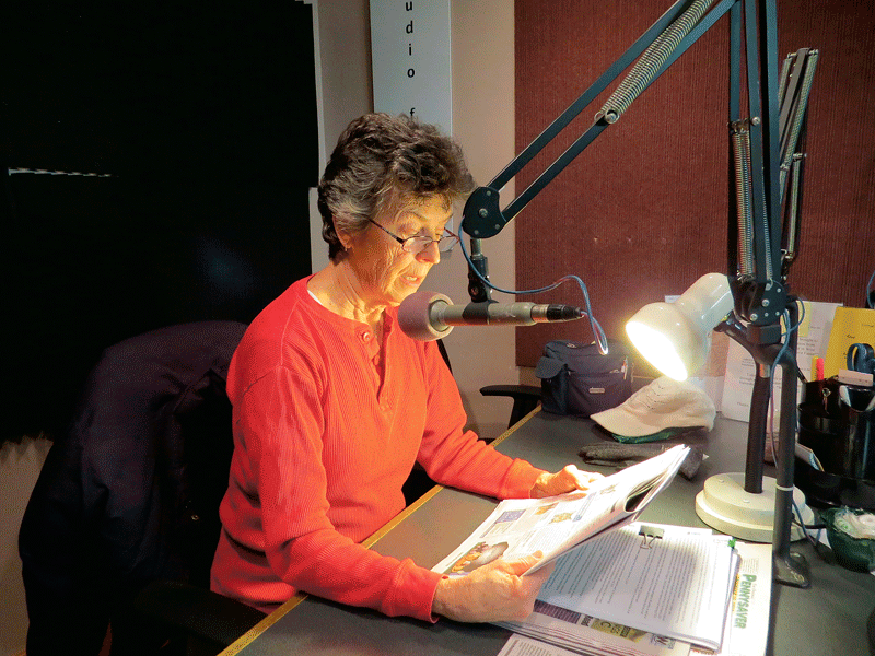 Eileen Richard reads the Daily Hampshire Gazette live on VER, and will often take the role of an animal up for adoption.