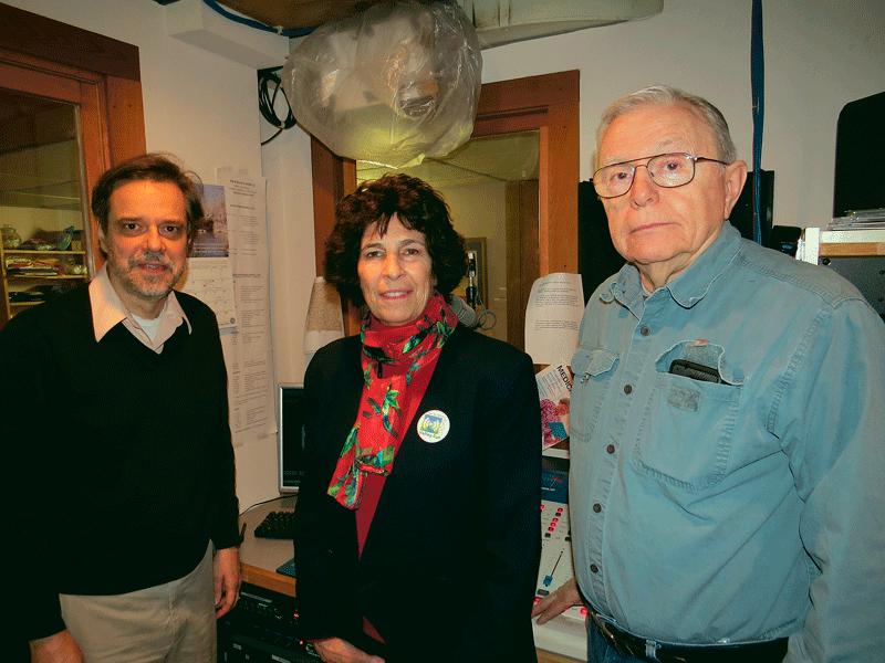 From left, Harold Anderson, programming coordinator for VER; Barbara Loh, executive director; and volunteer reader David Manning.