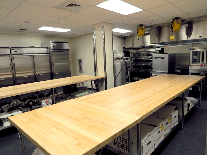 The 'production kitchen' in the new culinary arts institute is spacious and state-of-the-art.