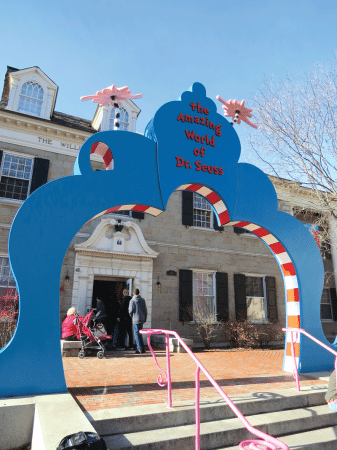 The arch in front of the Seuss museum