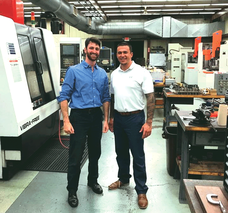 Matt Fioretti, left, and Matt Adams, cofounders of Quikcord, were successfully matched with Toner Plastics, enabling their concept to take big steps forward.