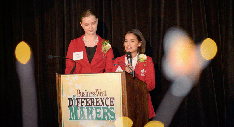 Stella and Emhanie, two of the girls from Girls Inc. of Holyoke, a 2018 Difference Maker.