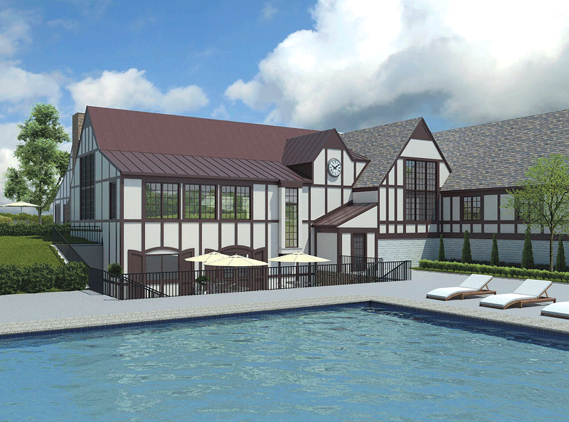 This rendering shows the new pool and addition to LCC's stately clubhouse.