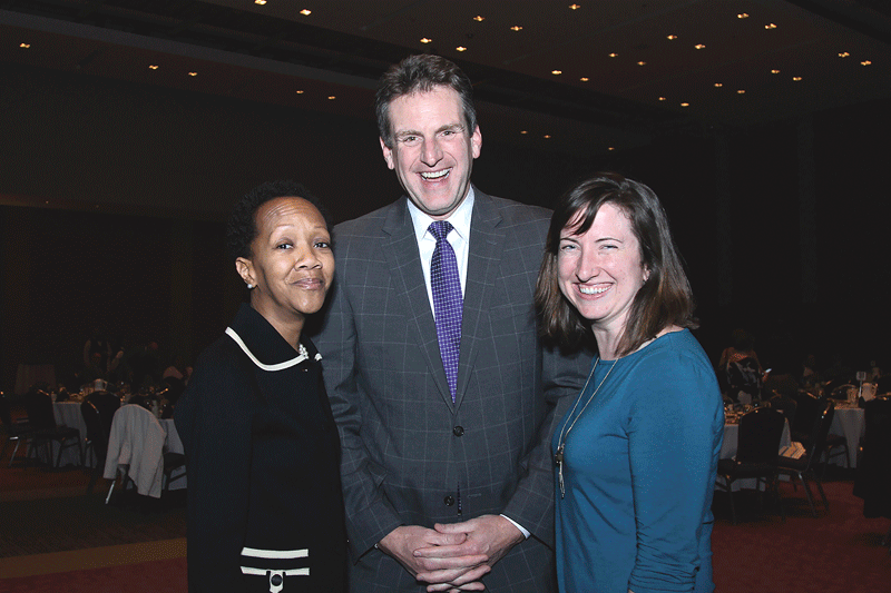 From left, Liz O'Gilvie of the Springfield Food Policy Council; Jay Ash, Massachusetts Secretary of Housing and Economic Development; and Laura Masulis of MassDevelopment