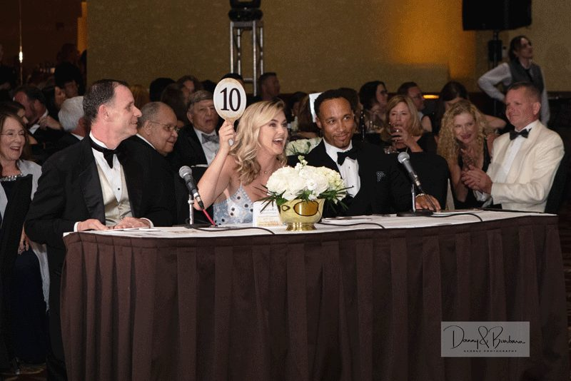 "From left to right, Gala judges Jonathan Besse, vice chair of the Board of Trustees; Lamont Clemons, Springfield business leader; and Lindsay Arnold from ""Dancing With the Stars"" provided comments on the dancers."