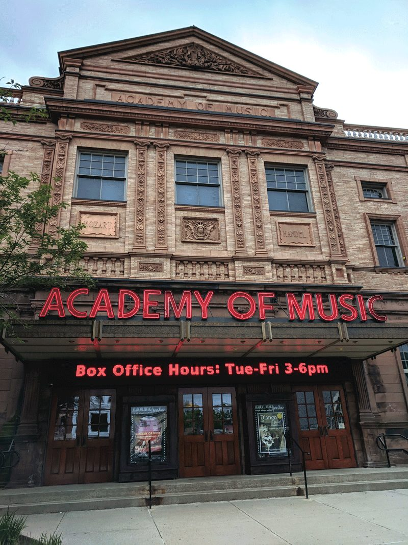 the Academy of Music's iconic building