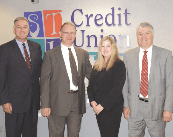 From left, STCU executives Michael Ostrowski, John Klimas, Jennifer Beylard, and Denny Keyes
