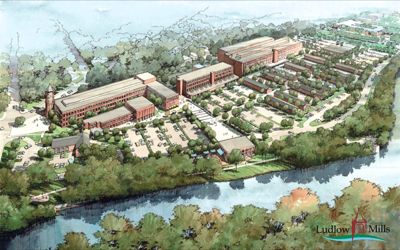 An architect's rendering of the Ludlow Mills complex, redevelopment of which is an ongoing process.