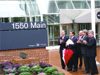 From left, U.S. Rep. Richard Neal, Mayor Domenic Sarno, state Sen. Stephen Buoniconti, Robert Culver, and Gregory Bialecki celebrate the rebirth of 1550 Main.