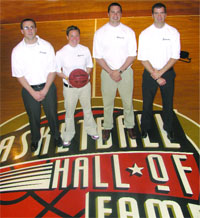 The team at BasketBull: from left, Patrick Fisher, Molly Dullea, Colin Tabb, and Chris Sparks.