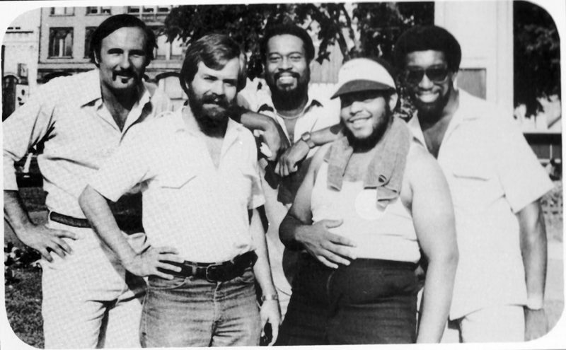 Ron Ancrum (center) on the back cover of the 1981 album recorded by his former jazz band, Quintessence.