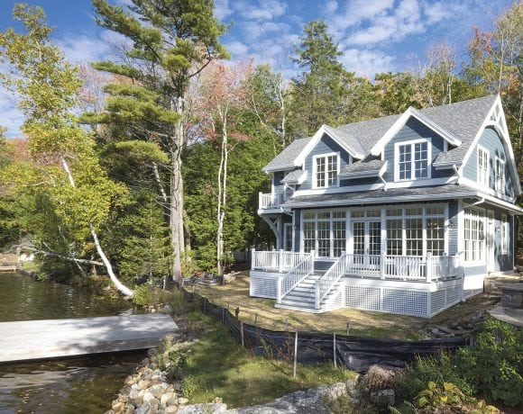 This lake home in Westhampton