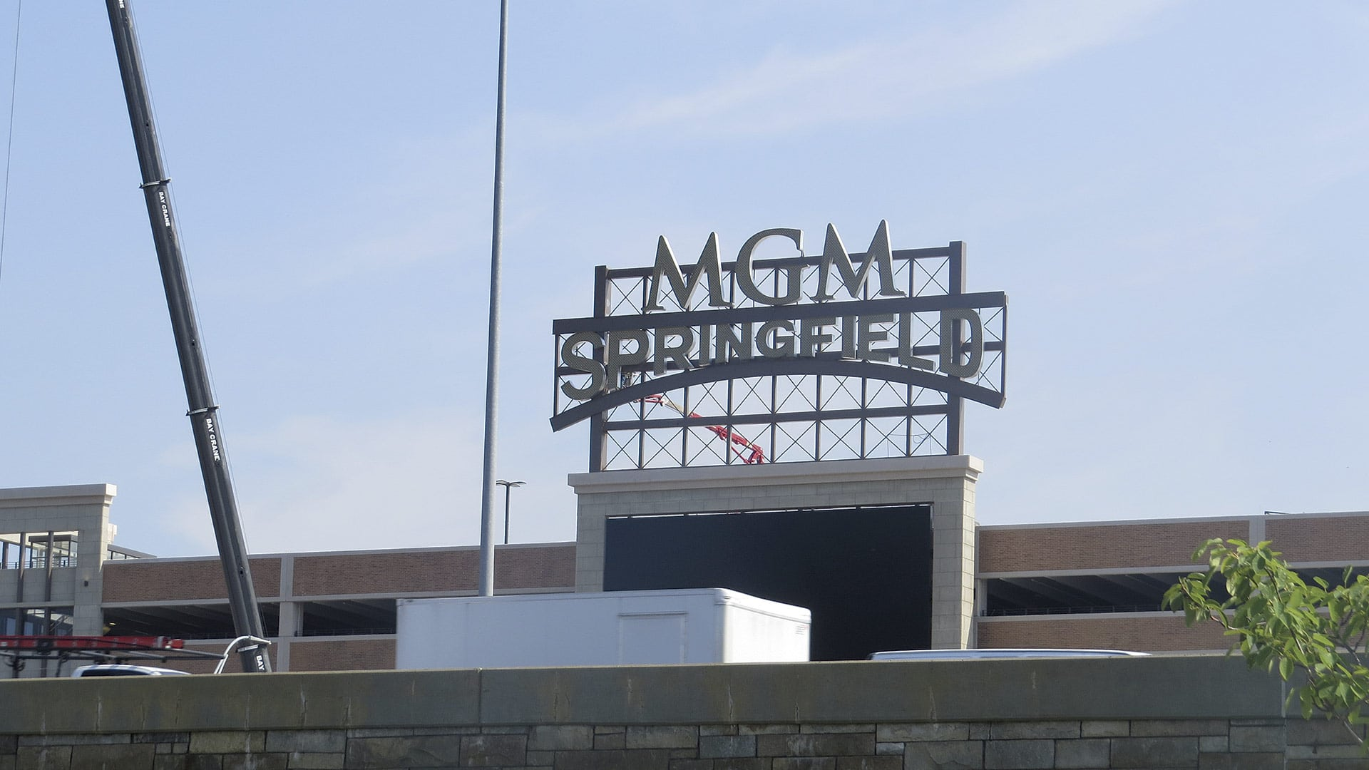 The giant MGM Springfield sign above the massive parking garage