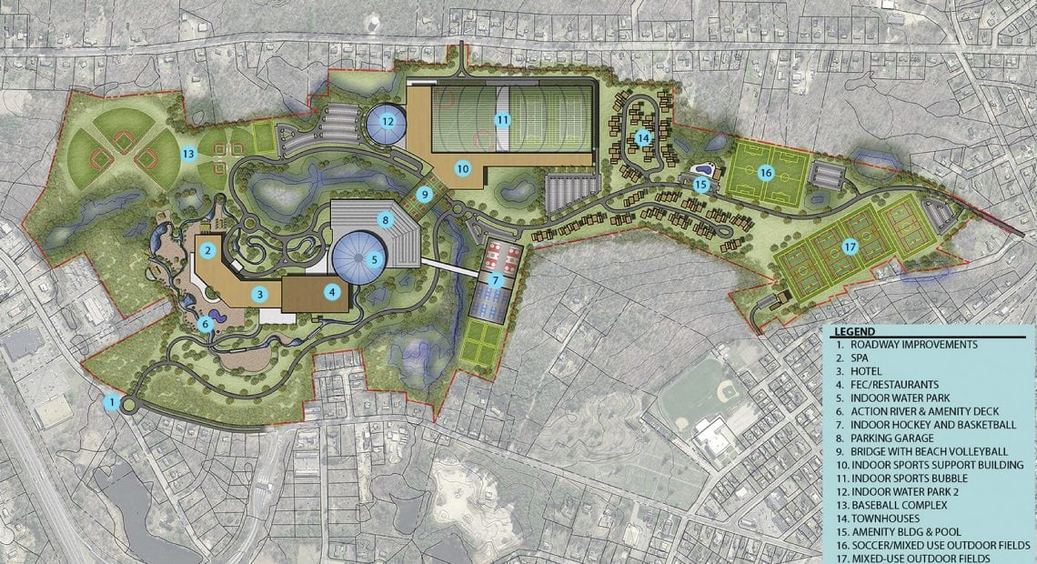 This rendering shows the many components of the planned $650 million resort and water park in Palmer.