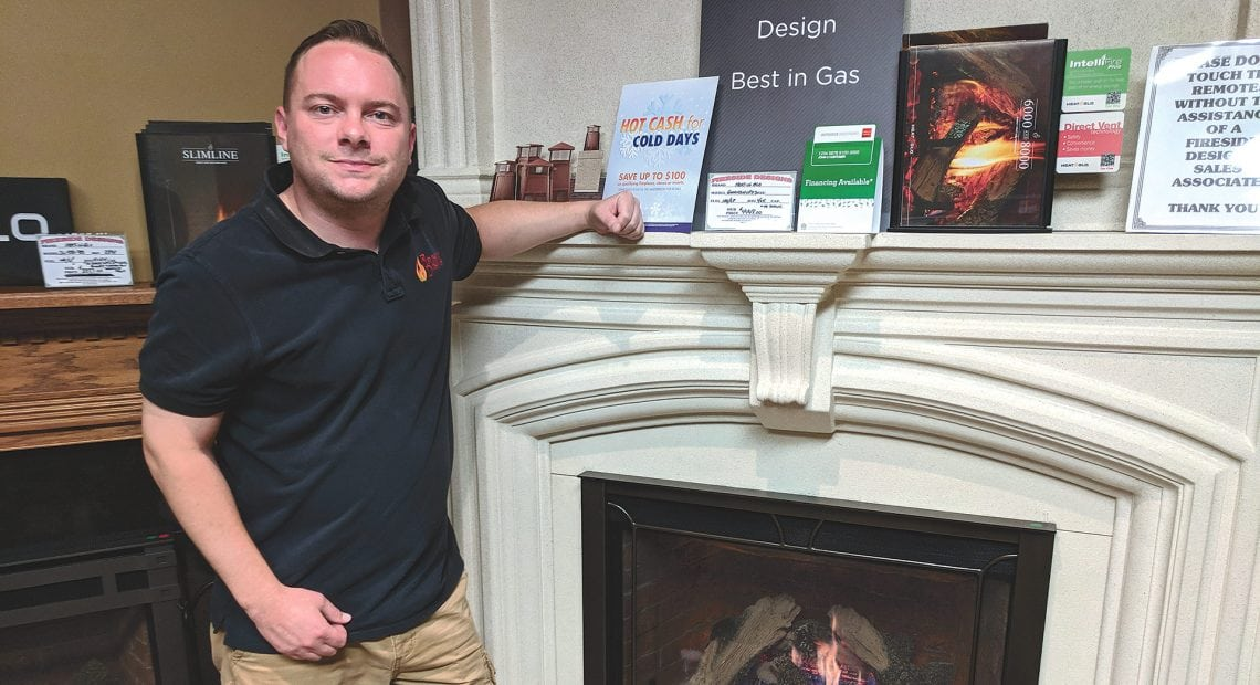Jay Peloquin says gas fireplaces are especially popular at a time when natural gas is inexpensive.