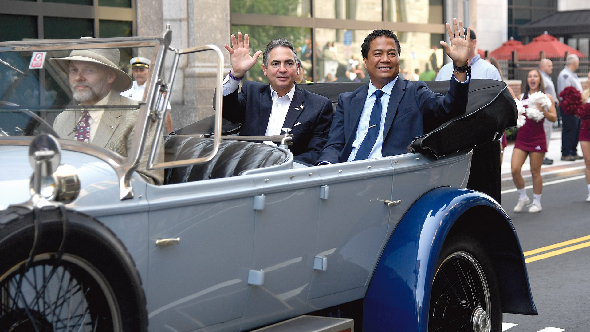 Mike Mathis and Springfield Mayor Domenic Sarno ride in style on opening day of MGM Springfield