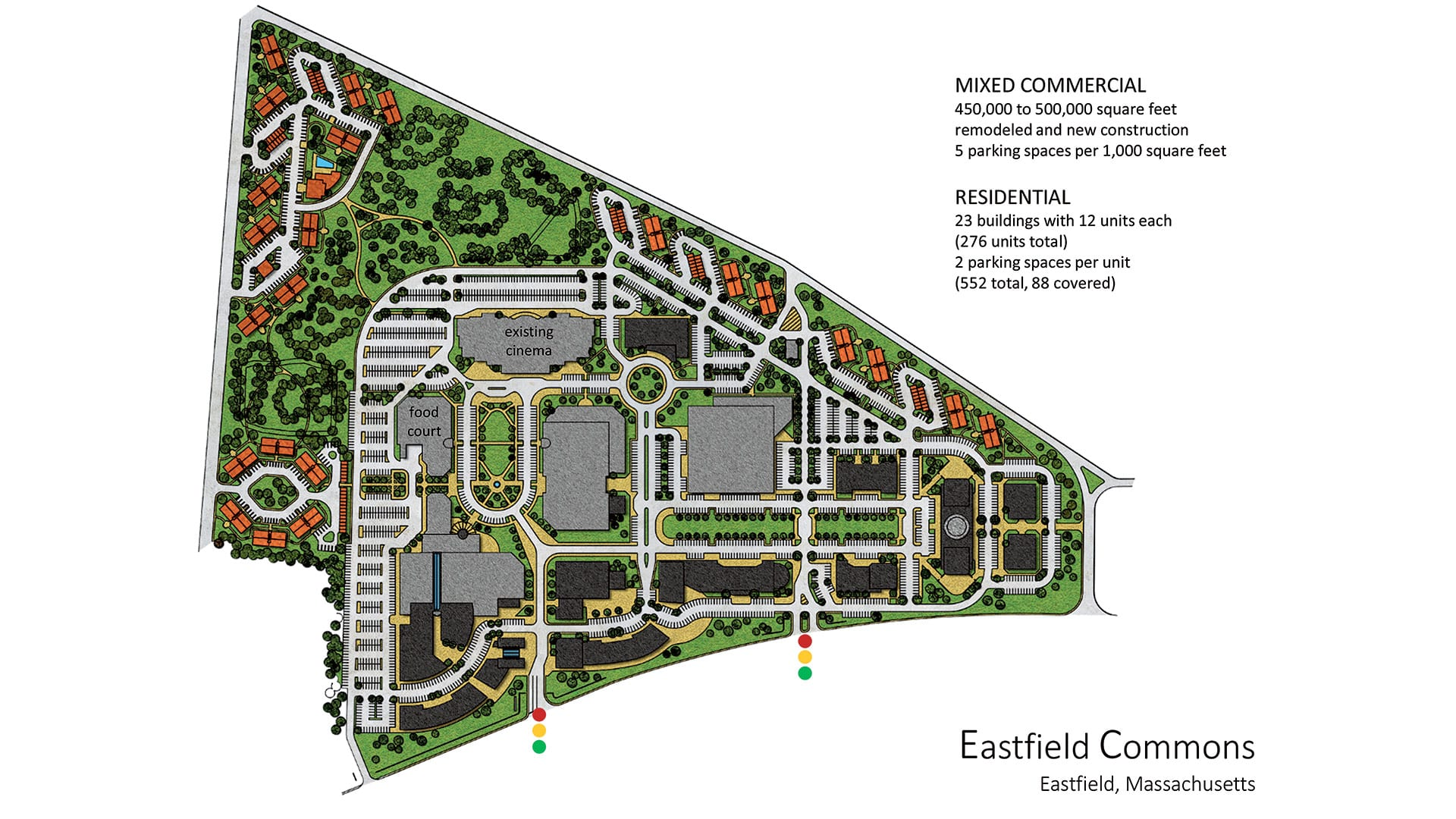 This rendering shows the proposed components of Eastfield Commons.